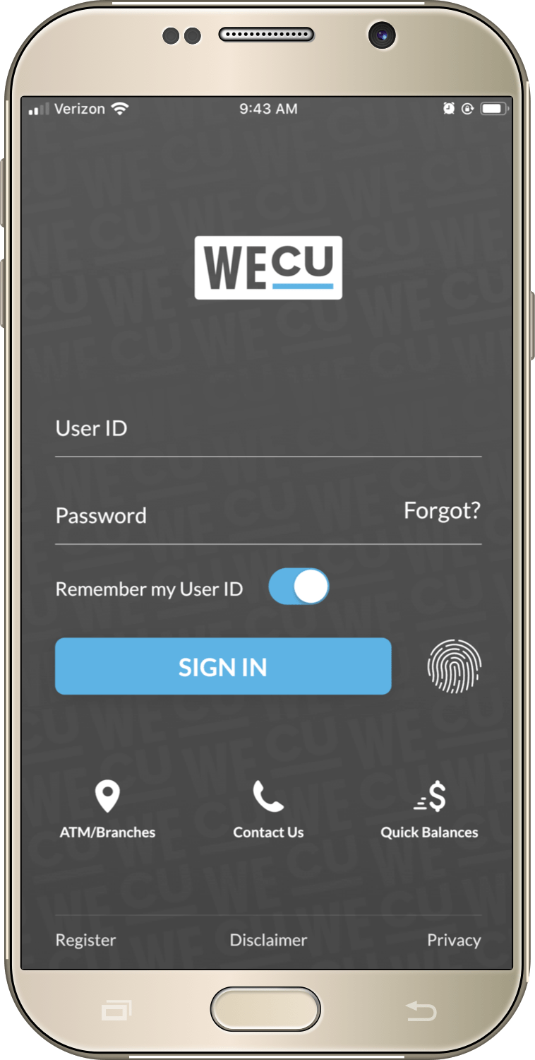 Login screen for the WECU mobile app.