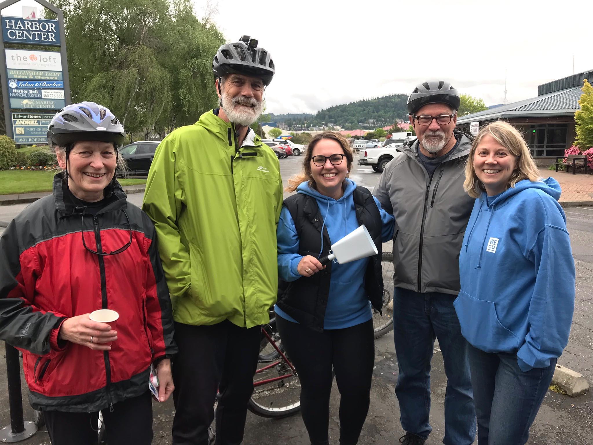 Team WECU Volunteers posing at the 2019 Bike to Work Day.