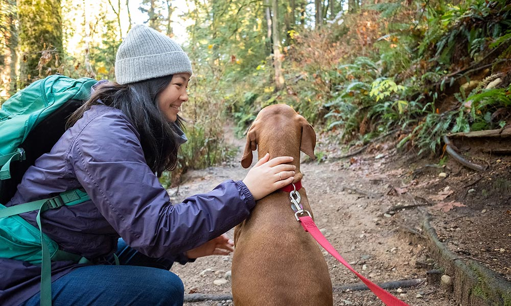 Young woman stops on trail to pet her Vizsla dog.