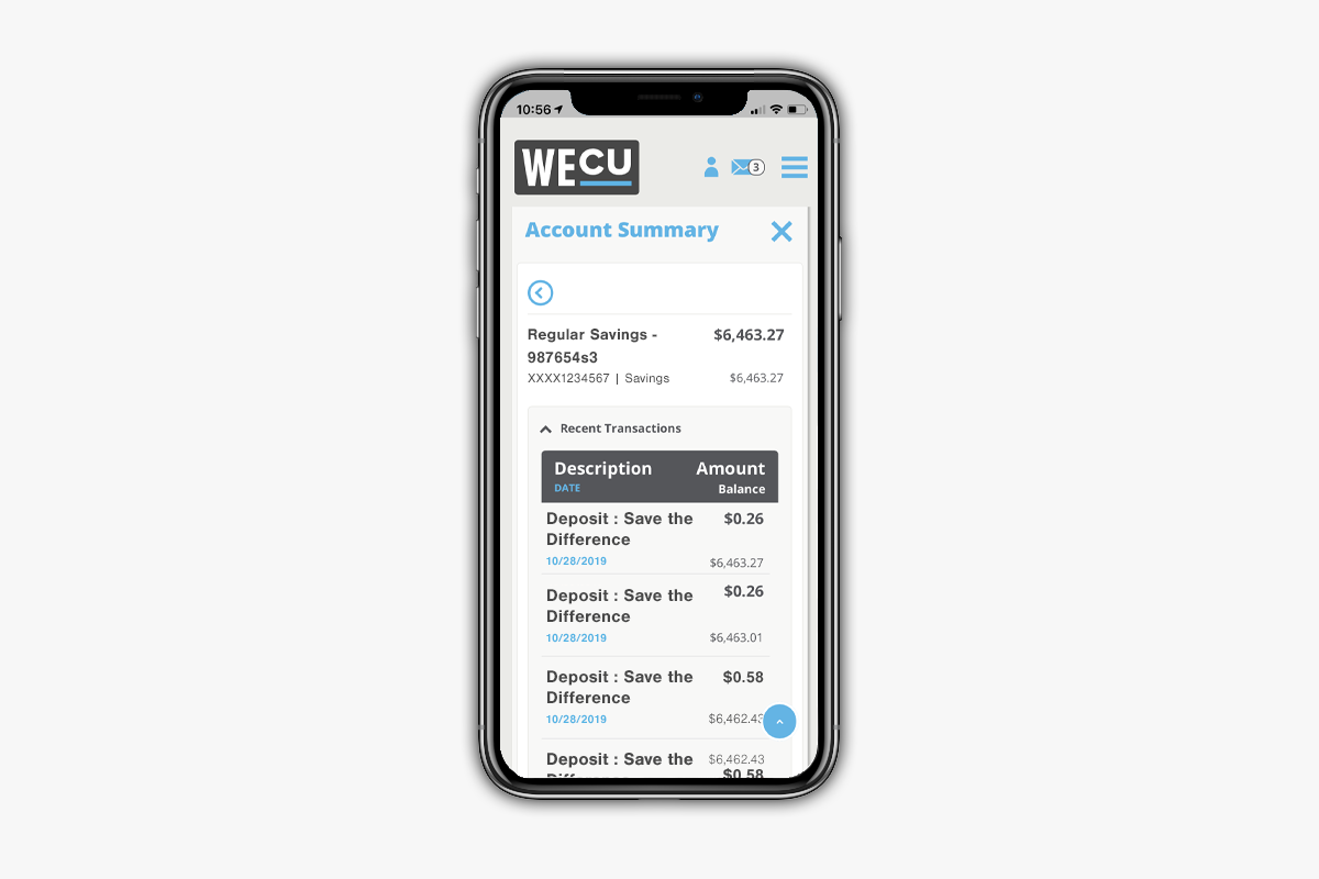 A screenshot of several save the difference transactions on the WECU mobile app.