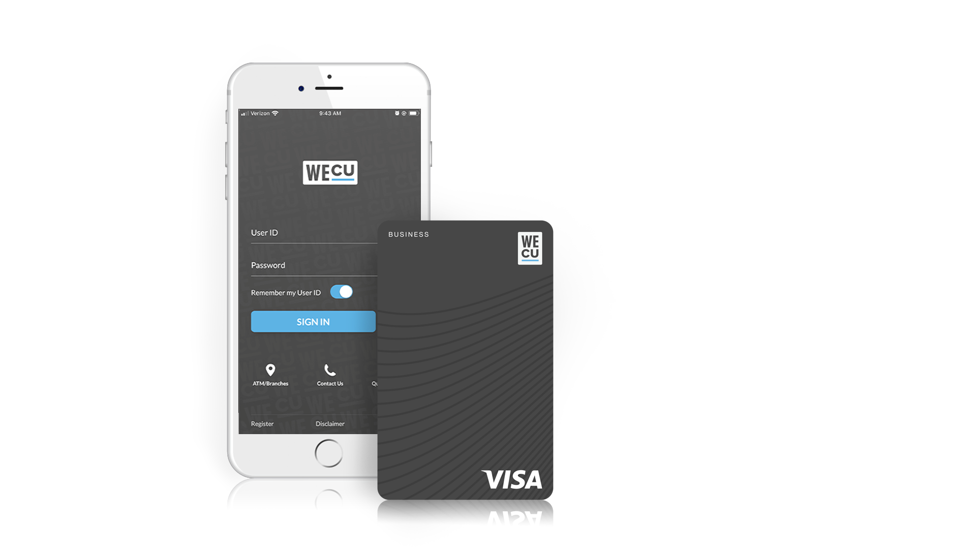 The WECU business visa credit card next to a phone displaying the WECU mobile app.