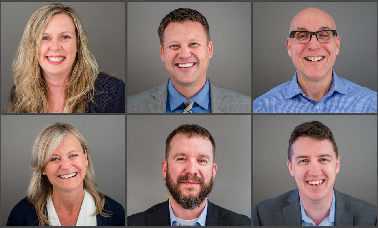 A collage of WECU senior leadership, including CEO Jennifer Kutcher, EVP Jeff Dykstra, CMO David Jones, CHRO Cindy Klein, CFO Nick Hodson, and CIO Jack Ingram.