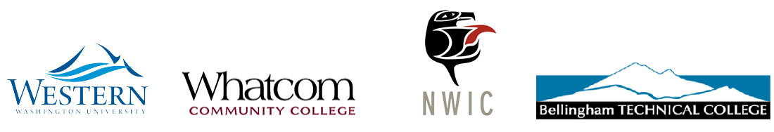 Logos of Western Washington University, Whatcom Community College, Northwest Indian College, and Bellingham Technical College.