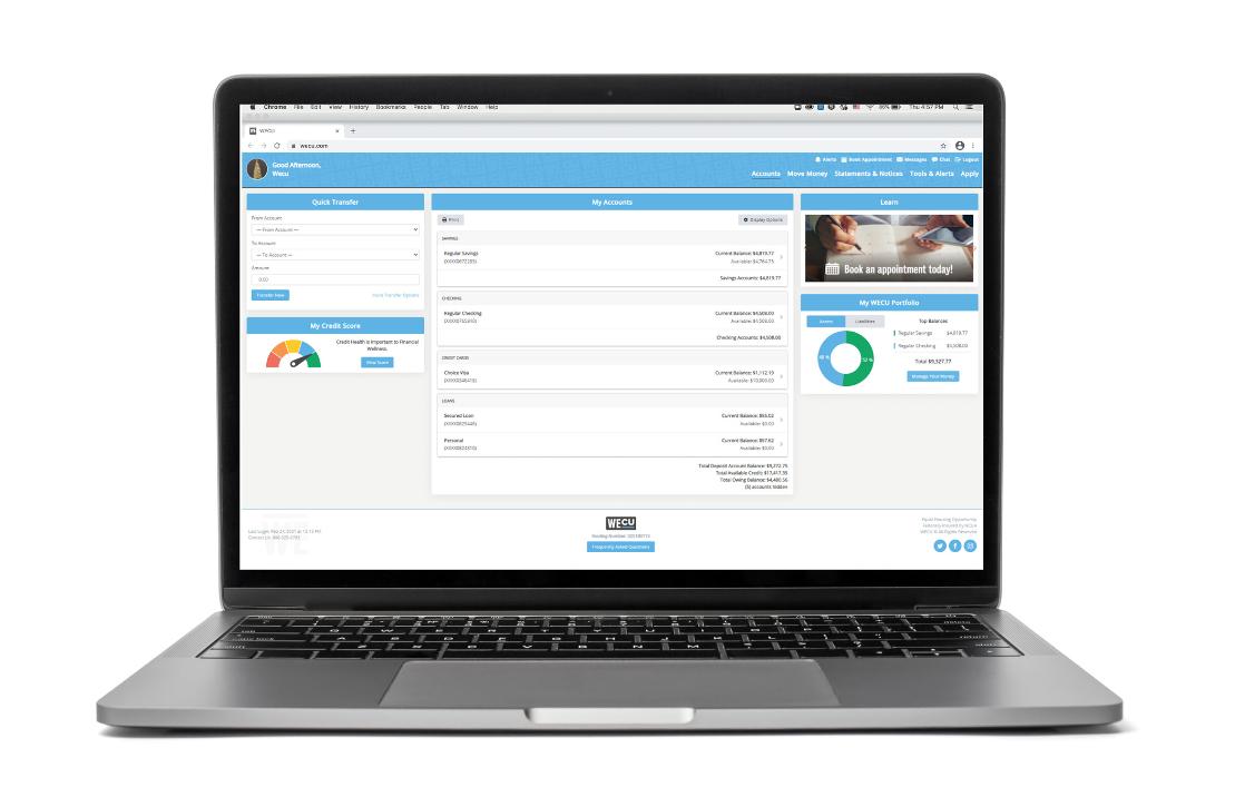 A laptop displaying WECU's Online Banking.